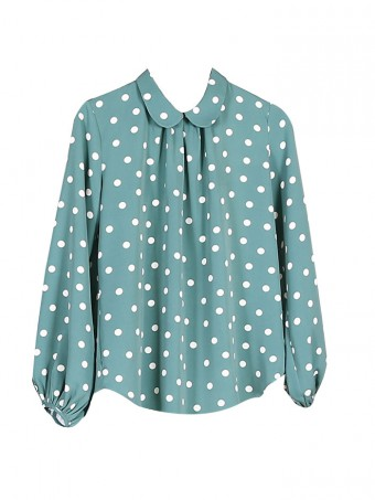 [Ready Stock] Jane Dotted Blouse - Dusty Green
