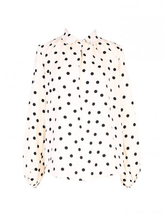 [Ready Stock] Jane Dotted Blouse - Milky Cream