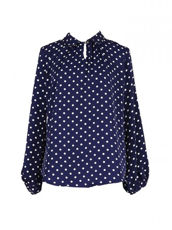 [Ready Stock] Jane Dotted Blouse - Navy Blue