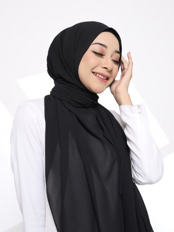 Hana Plain Shawl-Jet Black