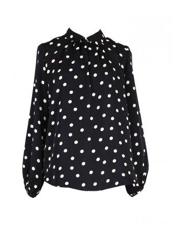 [Ready Stock] Jane Dotted Blouse - Coffee Black