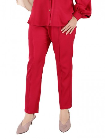 [Ready Stock] Lauren Pants-Red Maroon