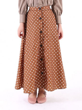 Lola Button Skirt(K)1.0-Deep Brown