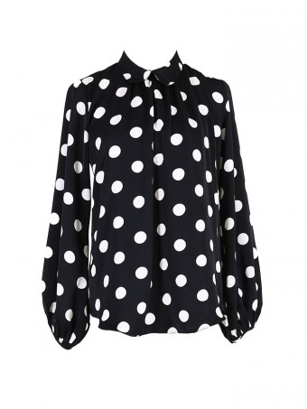 [Ready Stock] Jane Dotted Blouse - Bubble Black