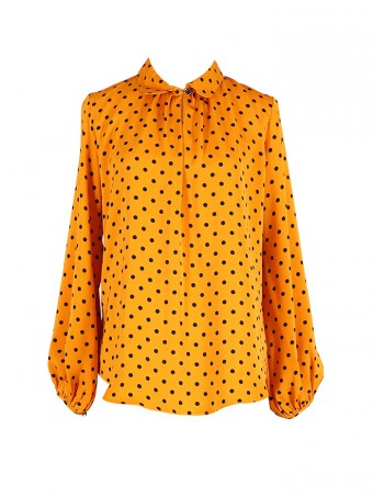 [Ready Stock] Jane Dotted Blouse - Gold Yellow