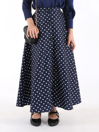 Lola Button Skirt(K)1.0-Navy Blue