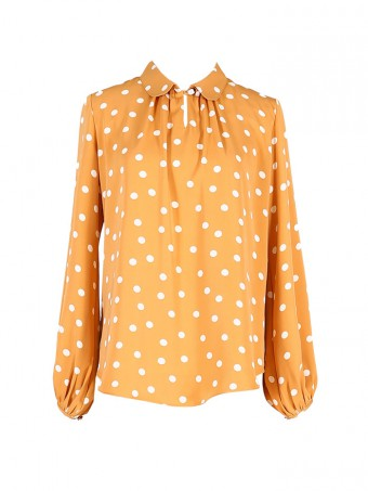 [Ready Stock] Jane Dotted Blouse - Honey Yellow