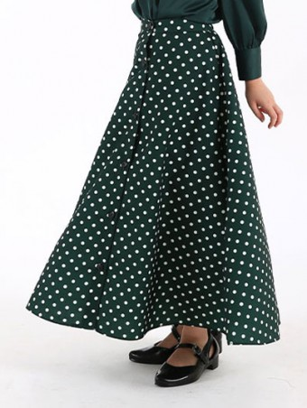 Lola Button Skirt(K)1.0-Emerald Green