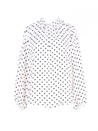 [Ready Stock] Jane Dotted Blouse - Pearl White
