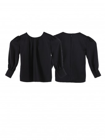 Jezamine Button Blouse(K)-Black