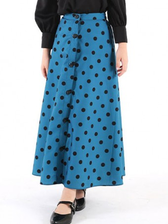 Lola Button Skirt(K)1.0-Teal Blue