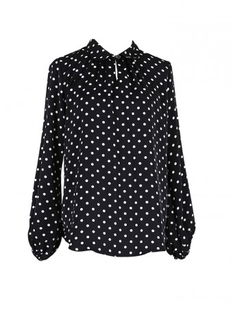 [Ready Stock] Jane Dotted Blouse - Marble Black
