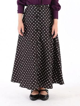 Lola Button Skirt(K)1.0-Magic Black