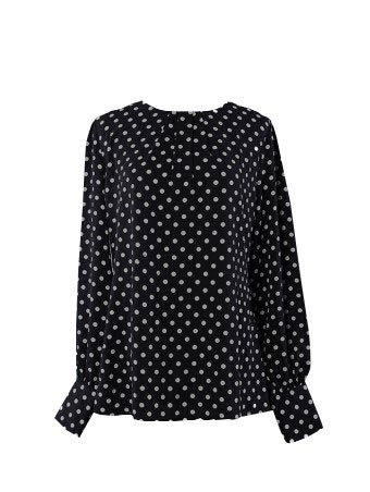 [Sample] Jezzy Dotted Blouse-Rugged Black