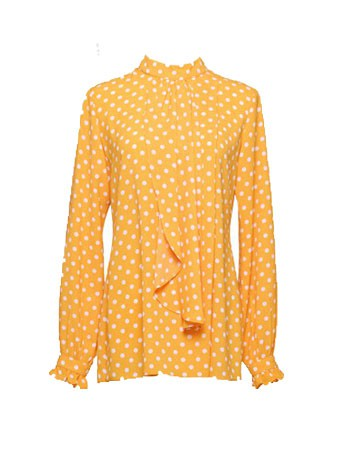 Thea Dotted Blouse-Canary Yellow