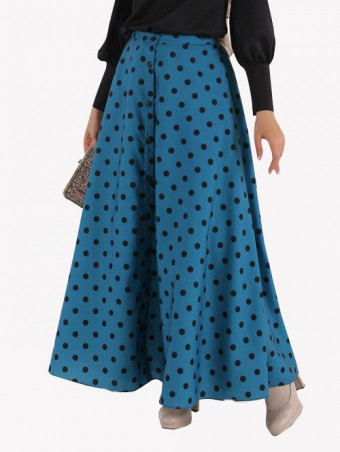 Lola Button Skirt-Teal Blue